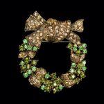 Brosche Adventskranz grün-gold